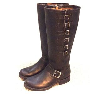 Frye Black Veronica belted tall leather boots 5.5